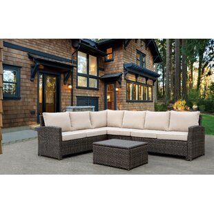 Hefley 2 Piece Rattan Sectional Set with Cushions