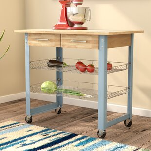 Mcdonald Kitchen Cart with Solid Wood Top Latitude Run