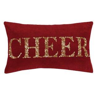 Sorrento Holiday Rectangular Beaded 100% Cotton Lumbar Pillow