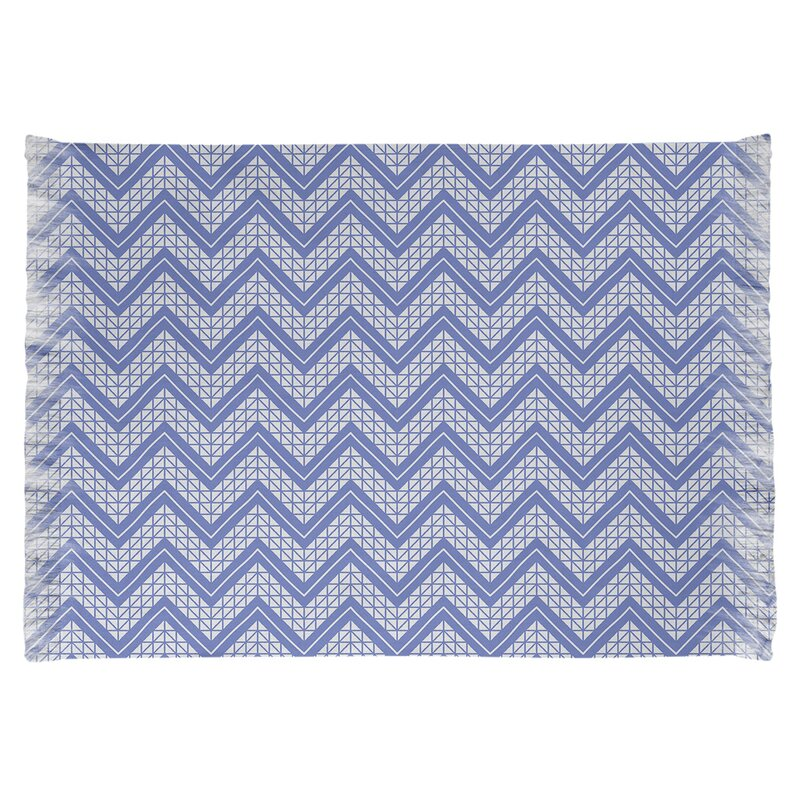 East Urban Home Classic Hand Drawn Chevron Blue Area Rug Wayfair