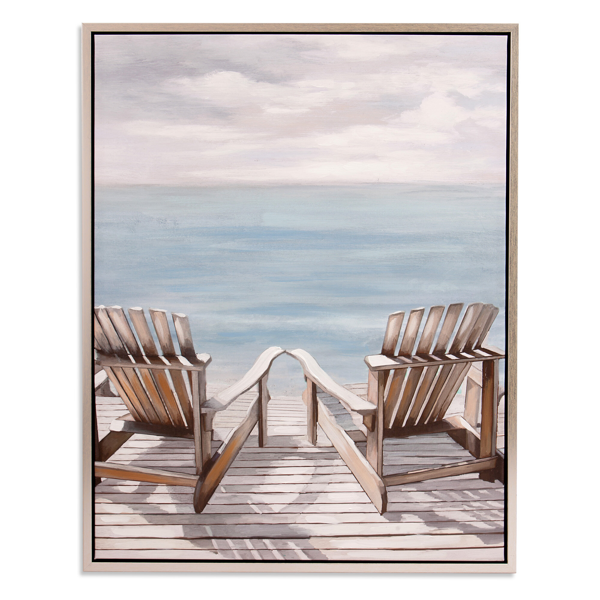 Adirondack Chairs Framed Graphic Art Print On Canvas In Silver
