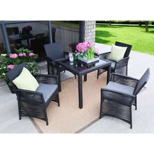 Collingwood Backyard Steel Frame 5 Pieces Dining Set with Cushions