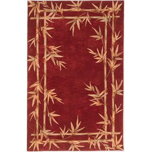 Chenai Red Bamboo Border Area Rug