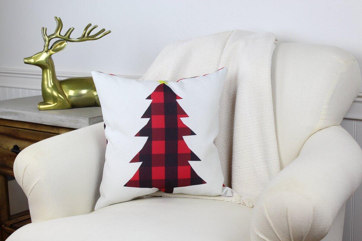 Cornell Plaid Christmas Tree Throw Pillow