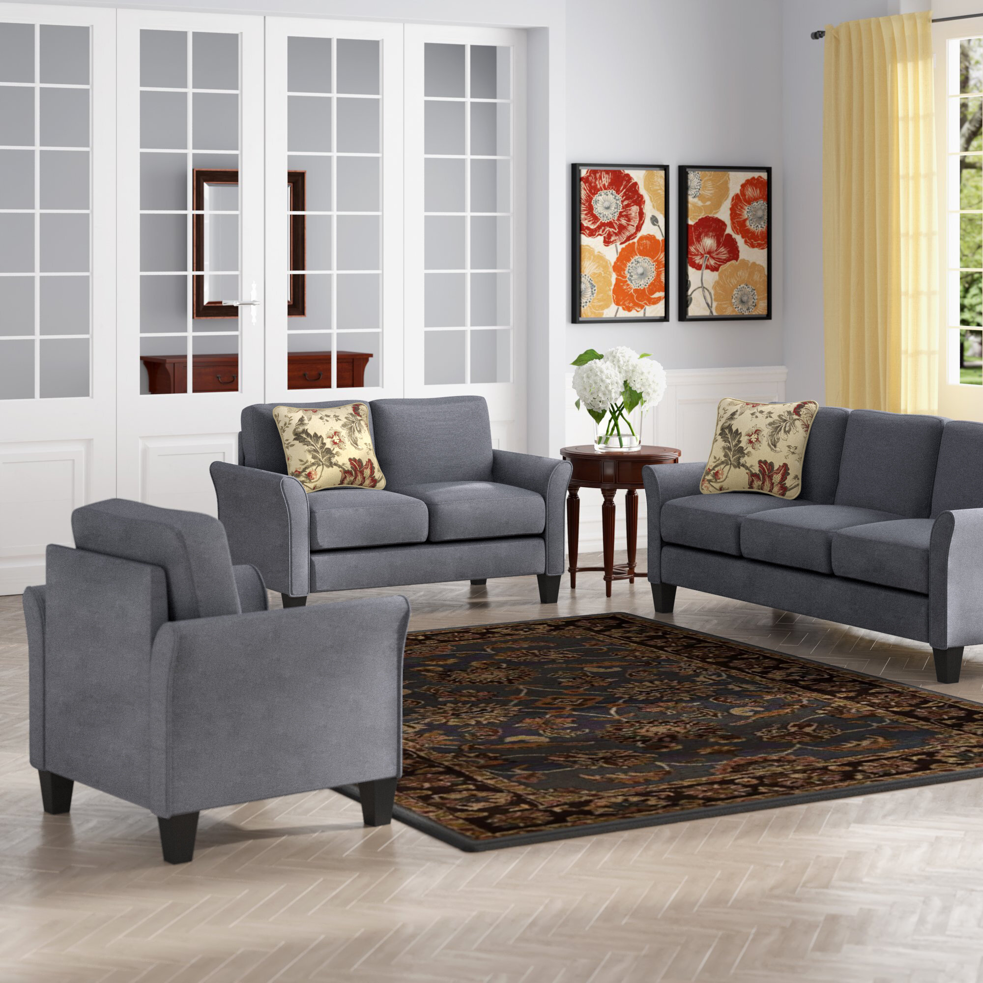3 Piece Living Room Sets | Wayfair