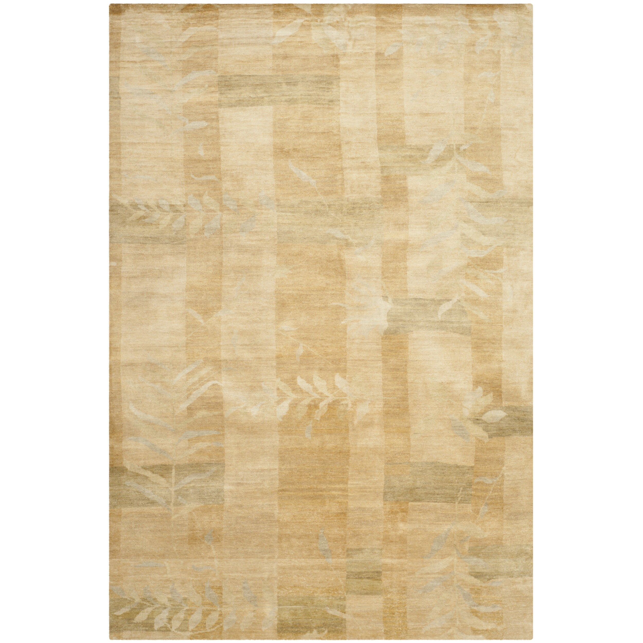 Martha Stewart Grasses Chamimile Hand Knotted Silk Wool Green Area Rug