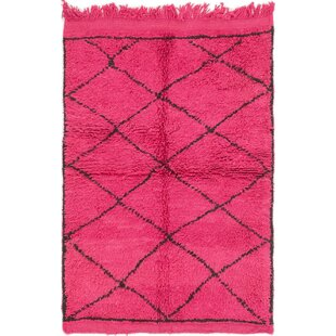 Big Save One-of-a-Kind Ilfracombe Hand-Knotted 3'4 x 5' Wool Magenta/Black Area Rug By Isabelline