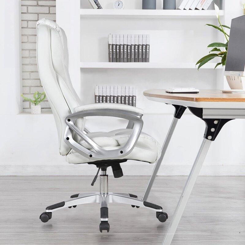 Orren Ellis Modern Ergonomic High Back Leather Executive Office Chair Height Adjustable Tiltable With Arms White Reviews Wayfair Ca
