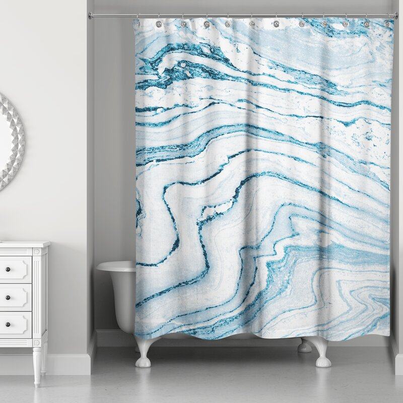 Everly Quinn Bellicent Asenath Marble Single Shower Curtain