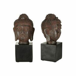 2-tlg. Buchstütze Buddha Head von Castleton Home