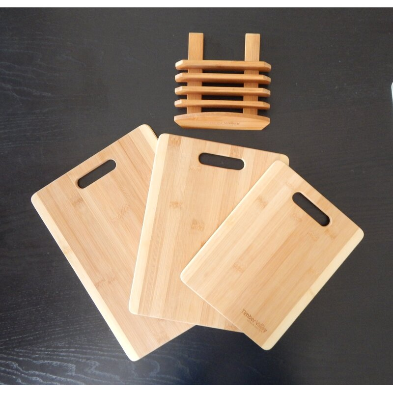 Timber Valley 3 Piece Bamboo Cutting Board Set With Stand Wayfair