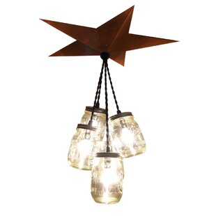 Aida Barn Star Mason Jar 5-Light Cluster Pendant