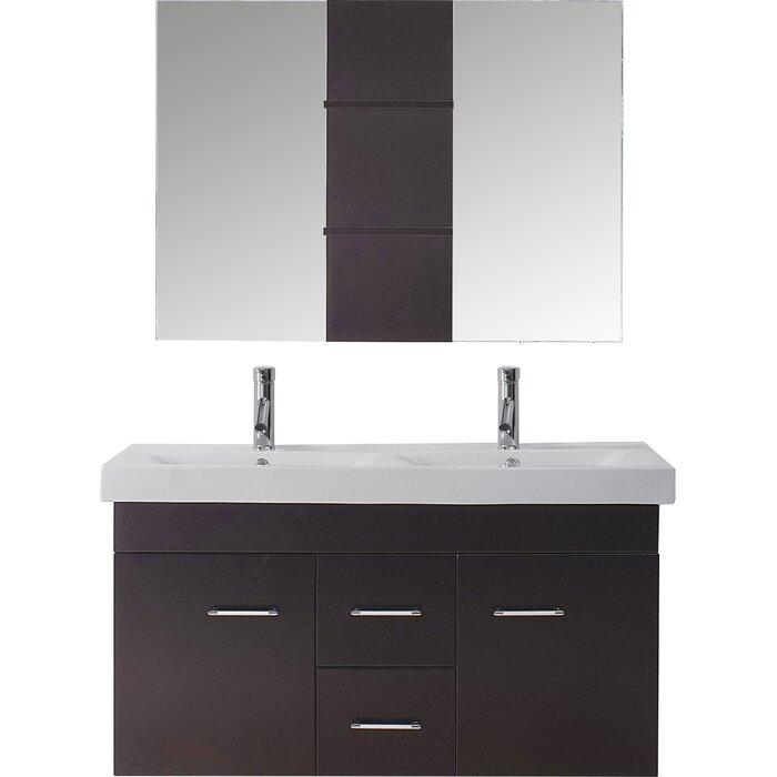 Ragnar 47 Double Bathroom Vanity Set With Ceramic Top And Mirror