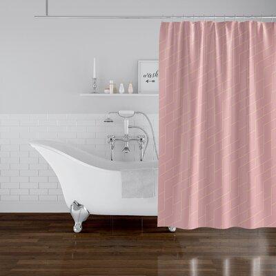 "Judith Gap Brick Single Shower Curtain Ivy Bronx Color: Pink, Size: 72"""" H x 70"""" W -  7D600E4A09EA4637AE1E43F2034FA2ED"