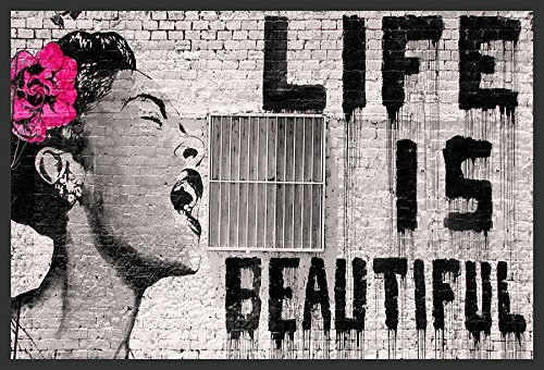 Buy Art For Less \'Life Is Beautiful\' by Banksy Framed Graphic Art ...