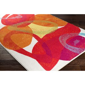 Dillsboro Neutral/Red Abstract Area Rug