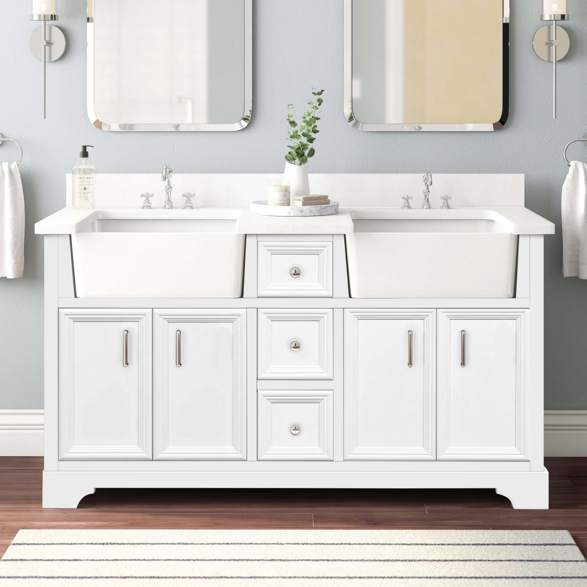 Coastal Farmhouse Emiliano 60 Double Bathroom Vanity Set Reviews Wayfair