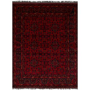 Bilberry Hand-Knotted Wool Red/Black Area Rug