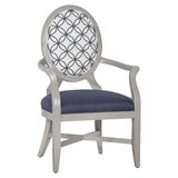 Marlin Upholstered King Louis Back Arm Chair in Colbalt/White by Fairfield Chair
