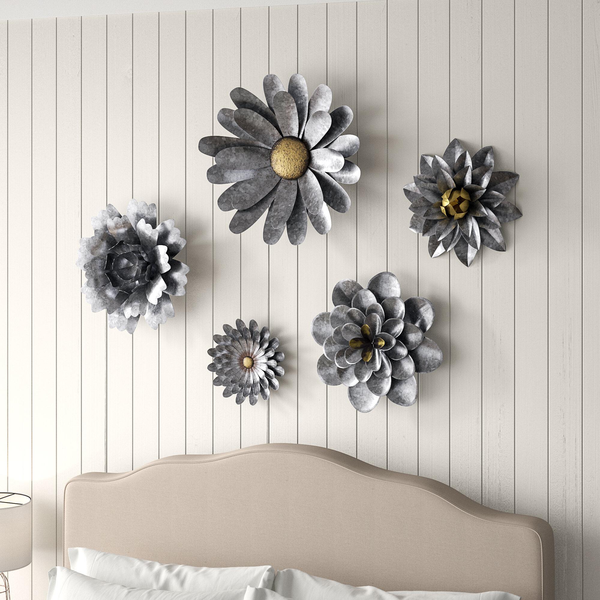 Gracie Oaks 5 Piece Galvanized Metal Flower Hanging Wall Decor Set