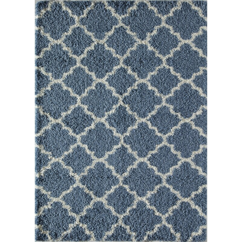 Crescent Quatrefoil Ivory Light Blue Area Rug