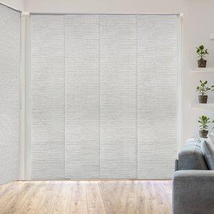 Deluxe Adjustable Sliding Room Darkening White/Gray Vertical Blind by Orren Ellis