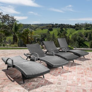 Gilleasbuig Outdoor Modern Wicker Chaise Lounge (Set of 4)