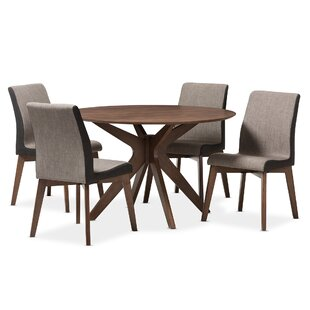 Kimberly Mid-Century Modern Wood Round 5 Piece Dining Set