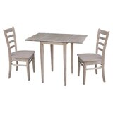 New Canaan Small Dual 3 Piece Drop Leaf Solid Wood Dining Set by August Grove®