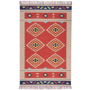 Online Reviews Rocky Hand Woven Red/Beige Area Rug By Bungalow Rose