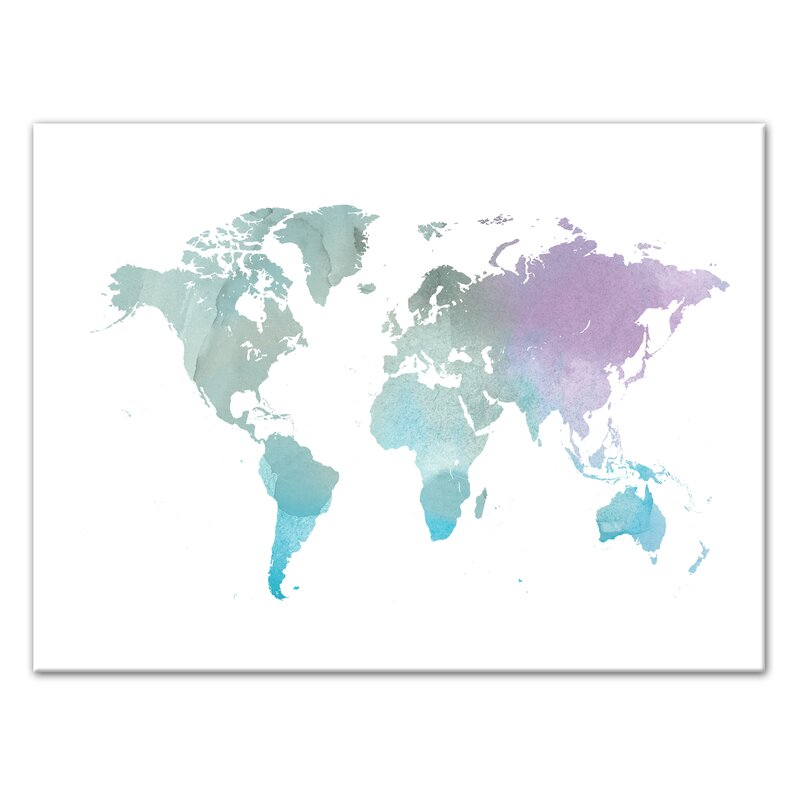 Wrought studio world map watercolor painting print on canvas wayfair world map watercolor painting print on canvas gumiabroncs Choice Image