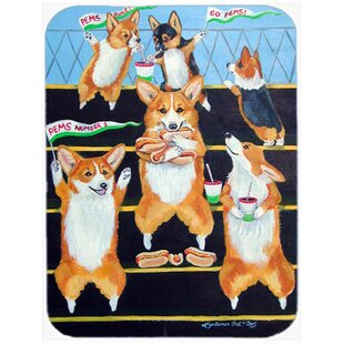 Go Team Corgi Glass Cutting Board By Caroline's Treasures