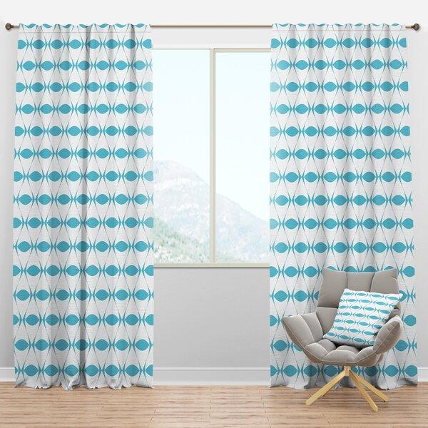 Designart Mid Century Design Iii Geometric Semi Sheer Thermal Rod Pocket Single Curtain Panel Wayfair