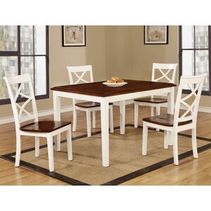 Baum Two-Tone Solid Wood 5 Piece Dining Set by R..