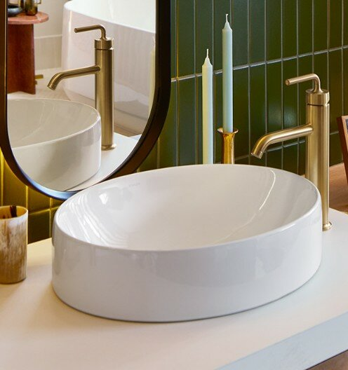 Vox Vitreous China Oval Vessel Bathroom Sink With Overflow