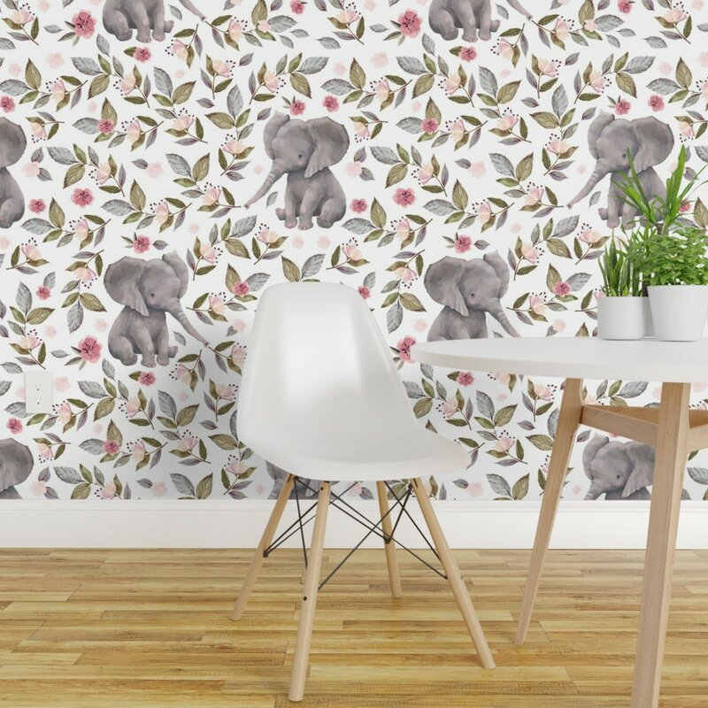 Isabelle Max Muscogee Elephant Removable Peel And Stick Wallpaper Roll Wayfair Ca
