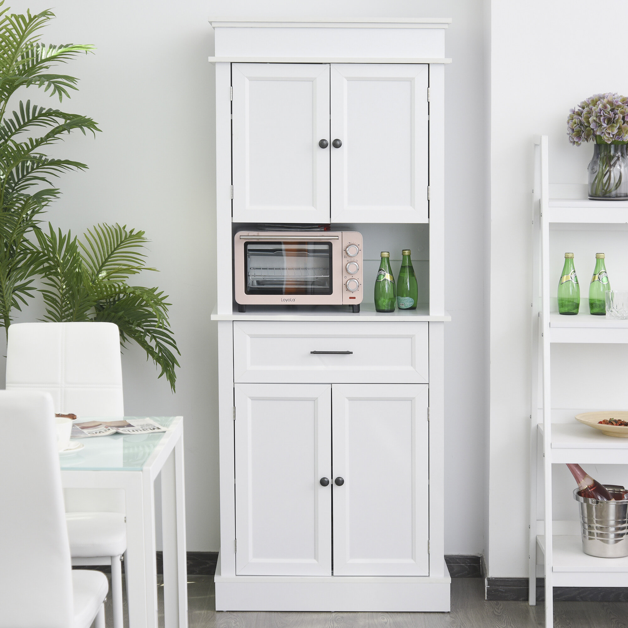 Red Barrel Studio Traditional Freestanding Kitchen Pantry Cabinet Cupboard With Doors And Shelves Adjustable Shelving Oak Wayfair