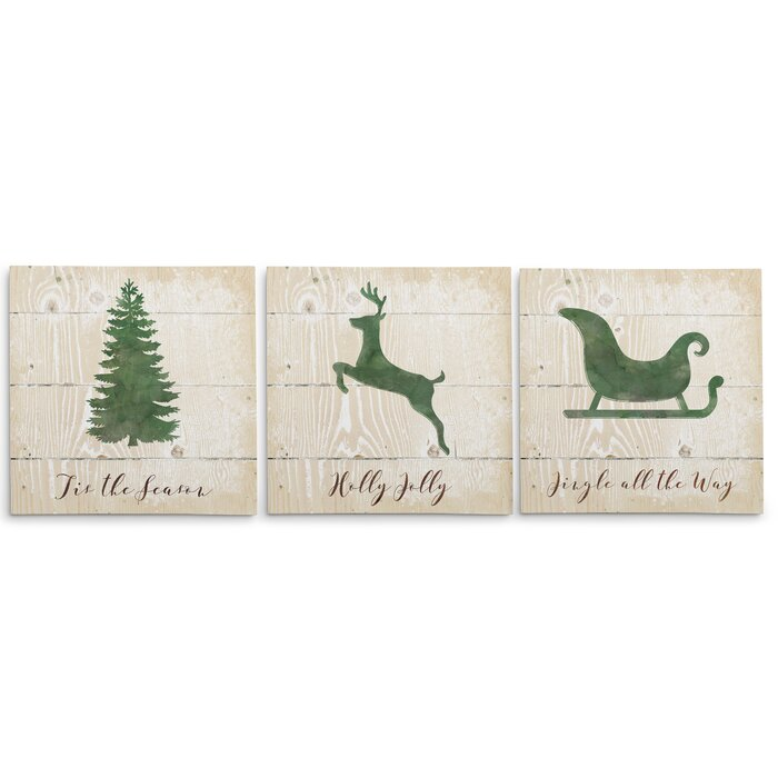 Christmas Silhouette.Christmas Silhouette 3 Piece Graphic Art Print Set On Wrapped Canvas