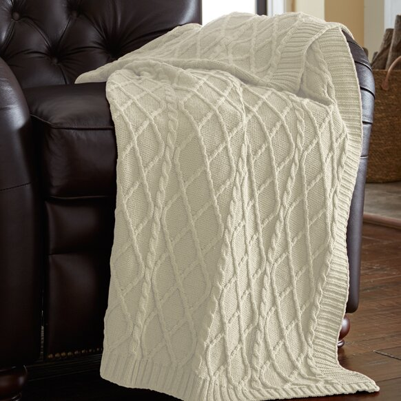 Cotton Cable Knit Throw Wayfair