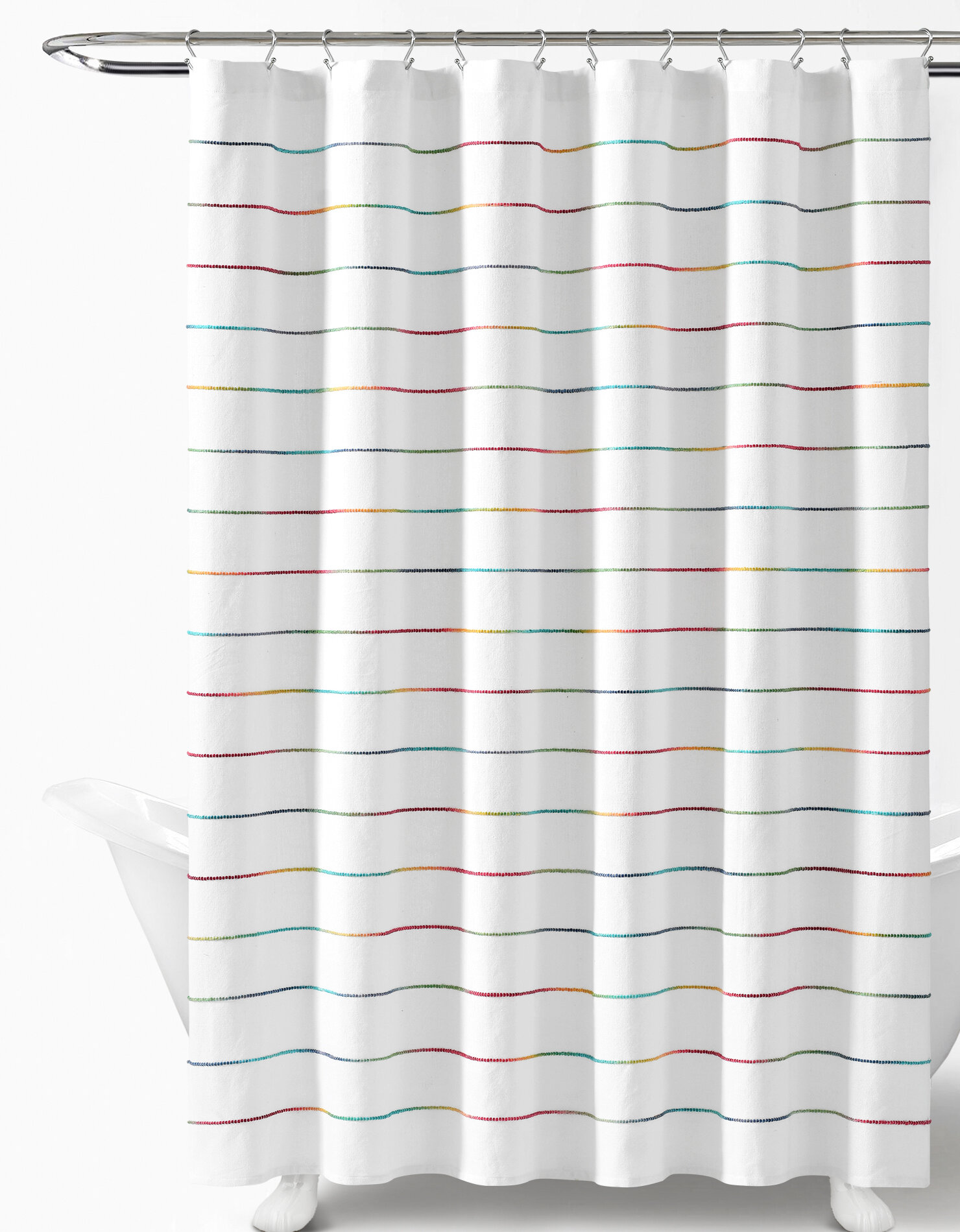 Home Garden 1pc Shower Curtain Gradient Color Strip Bath Curtain With Hooks Waterproof New Rudisbakery Com
