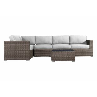 Lue 6 Piece Rattan Sectional Seating Group with Sunbrella Cushions
