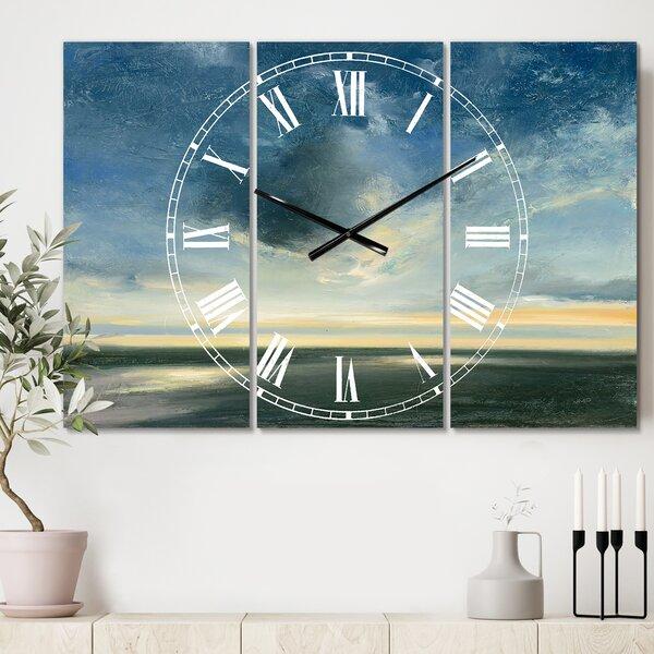 East Urban Home Oversized Coastal Sunrise Cottage Metal Wall Clock Wayfair