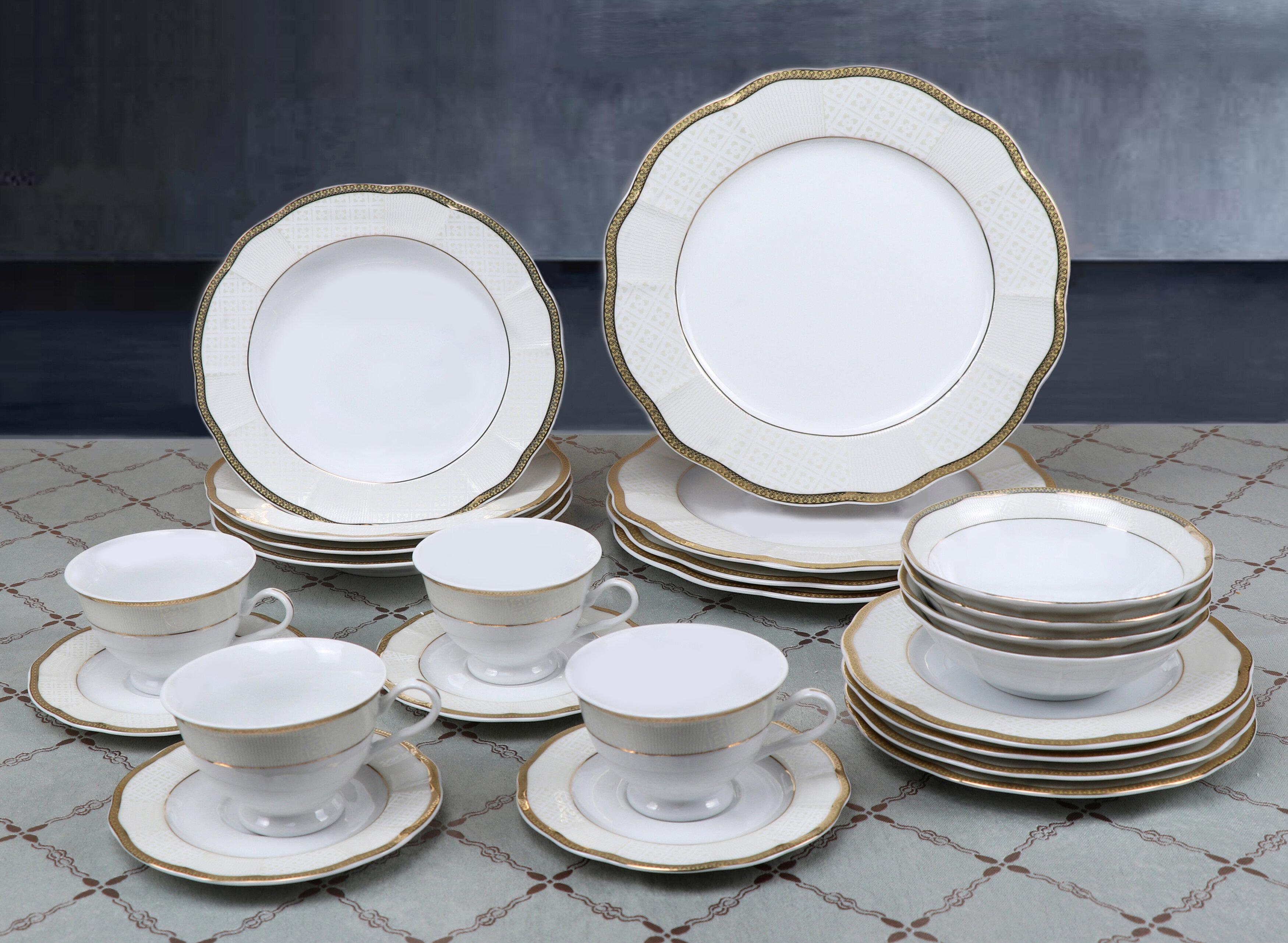 Flato 20 pc Forest Bone China Gold Border Style Dinner Set Service for 4