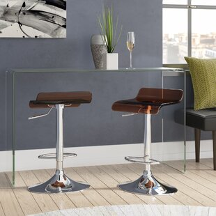 Hesiod Adjustable Height Swivel Bar Stool (Set of 2) Brayden Studio