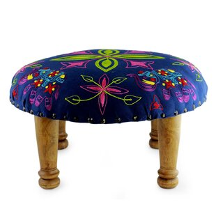 Pace Octavius Elephant Embroidered Blooms Ottoman