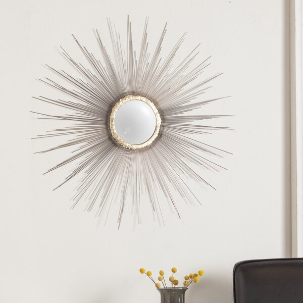 Sunburst Wall Mirror latitude run starburst silhouette metal fisheye wall mirror