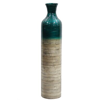 World Menagerie Jacque Floor Vase Color: Teal Glossy/Natural Bamboo Glossy, Size: 31.89 H x 7.09 W x 7.09 D