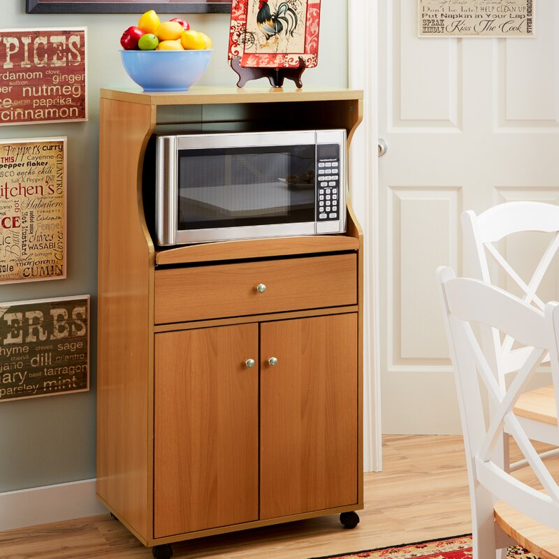 Microwave Cart With Wood Top