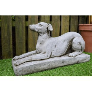 Greyhound On Plinth Stone Garden Statue