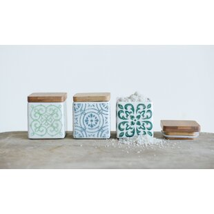 Square Stoneware 3 Piece Kitchen Canister Set